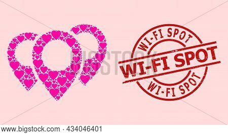Distress Wi-fi Spot Stamp Seal, And Pink Love Heart Collage For Map Pointers. Red Round Stamp Seal H