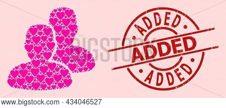 Distress Added Stamp Seal, And Pink Love Heart Mosaic For Users. Red Round Seal Has Added Caption In