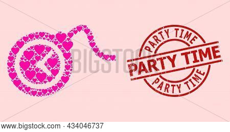 Scratched Party Time Stamp, And Pink Love Heart Collage For Time Bomb. Red Round Stamp Includes Part