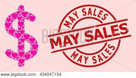 Rubber May Sales Stamp Seal, And Pink Love Heart Collage For Dollar Sign. Red Round Stamp Seal Has M