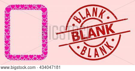 Textured Blank Stamp Seal, And Pink Love Heart Collage For Empty Page. Red Round Seal Has Blank Tag