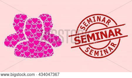 Distress Seminar Stamp, And Pink Love Heart Mosaic For People. Red Round Stamp Contains Seminar Text