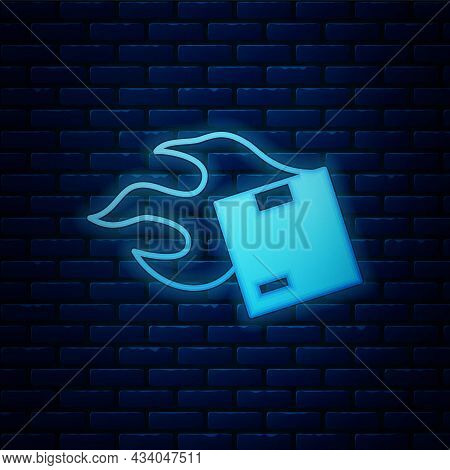 Glowing Neon Carton Cardboard Box Icon Isolated On Brick Wall Background. Box, Package, Parcel Sign.