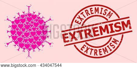 Rubber Extremism Stamp Seal, And Pink Love Heart Collage For Flu Virus. Red Round Stamp Seal Contain