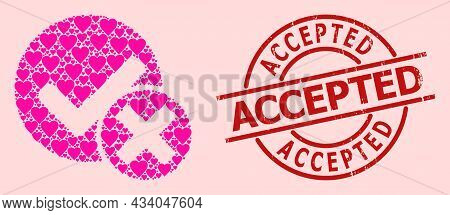 Distress Accepted Stamp, And Pink Love Heart Mosaic For False Positive. Red Round Stamp Has Accepted