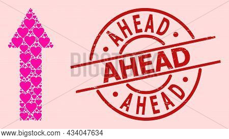 Distress Ahead Stamp Seal, And Pink Love Heart Mosaic For Up Arrow. Red Round Stamp Contains Ahead C