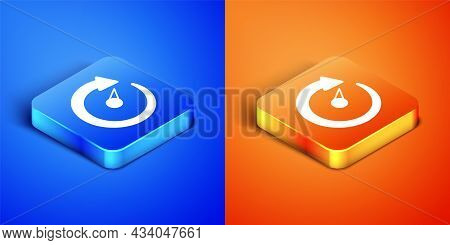 Isometric Digital Speed Meter Icon Isolated On Blue And Orange Background. Global Network High Speed