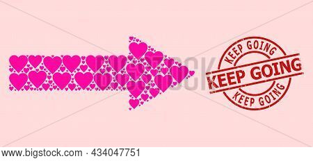 Grunge Keep Going Stamp Seal, And Pink Love Heart Mosaic For Right Arrow. Red Round Stamp Seal Inclu