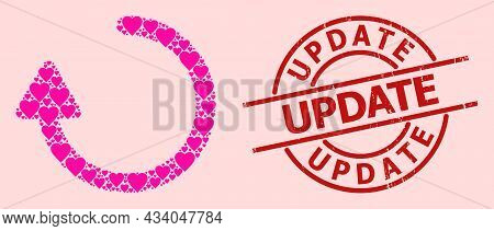 Distress Update Stamp Seal, And Pink Love Heart Collage For Rotate Right Arrow. Red Round Stamp Has