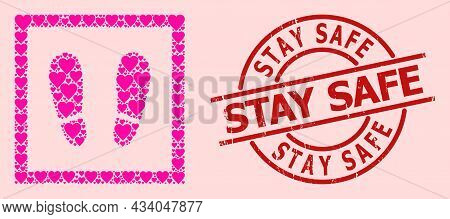Grunge Stay Safe Stamp, And Pink Love Heart Mosaic For Stay Here. Red Round Stamp Seal Has Stay Safe