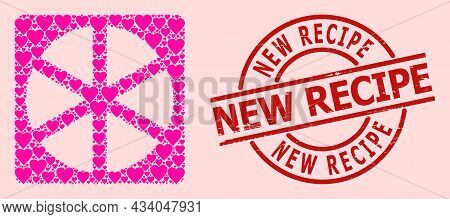 Textured New Recipe Stamp Seal, And Pink Love Heart Mosaic For Pizza Box. Red Round Stamp Seal Has N