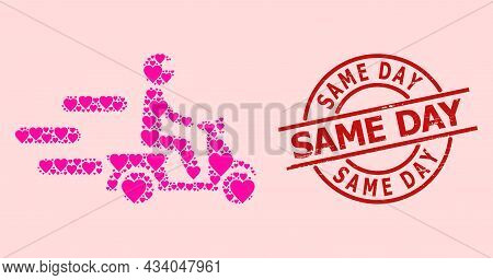 Grunge Same Day Stamp Seal, And Pink Love Heart Collage For Fast Motorbike. Red Round Stamp Seal Con