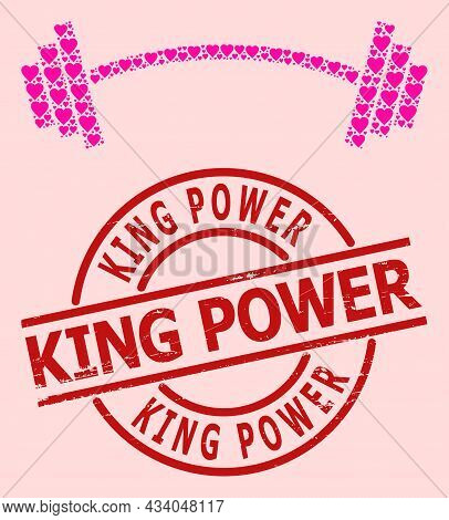 Rubber King Power Stamp Seal, And Pink Love Heart Collage For Heavy Barbell. Red Round Stamp Seal In