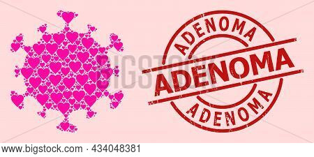 Distress Adenoma Stamp Seal, And Pink Love Heart Mosaic For Covid Virus. Red Round Stamp Seal Includ