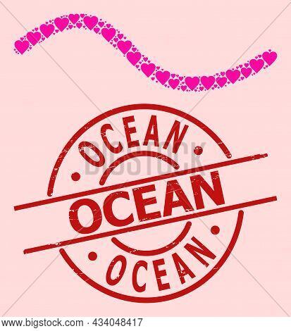 Distress Ocean Stamp, And Pink Love Heart Collage For Wave Line. Red Round Stamp Seal Includes Ocean