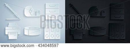 Set Scotch, Drawer With Documents, Printer, Office Folders Papers And, And Pen Line Icon. Vector
