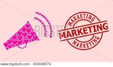 Distress Marketing Stamp Seal, And Pink Love Heart Collage For Marketing Horn. Red Round Stamp Seal