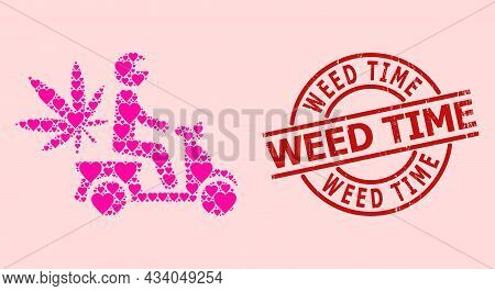 Rubber Weed Time Seal, And Pink Love Heart Collage For Marijuana Motorbike Delivery. Red Round Seal