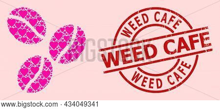 Scratched Weed Cafe Stamp Seal, And Pink Love Heart Mosaic For Coffee Beans. Red Round Seal Has Weed