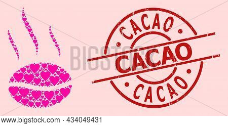 Grunge Cacao Stamp, And Pink Love Heart Mosaic For Coffee Aroma. Red Round Stamp Seal Contains Cacao