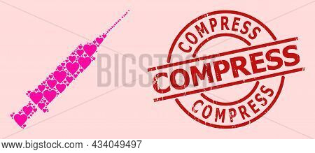 Distress Compress Stamp Seal, And Pink Love Heart Mosaic For Syringe. Red Round Badge Includes Compr