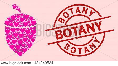 Grunge Botany Stamp, And Pink Love Heart Mosaic For Oak Acorn. Red Round Stamp Contains Botany Capti