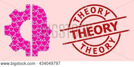Distress Theory Stamp, And Pink Love Heart Collage For Cyborg Head. Red Round Stamp Seal Includes Th