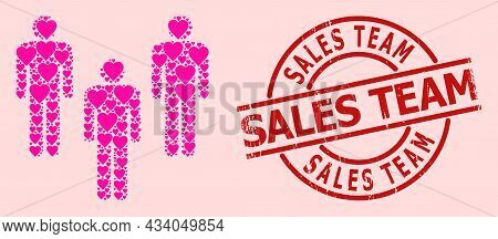 Distress Sales Team Stamp Seal, And Pink Love Heart Mosaic For People Crowd. Red Round Stamp Seal In