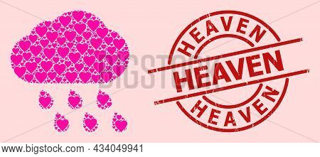 Grunge Heaven Stamp, And Pink Love Heart Collage For Rain Cloud. Red Round Stamp Seal Contains Heave
