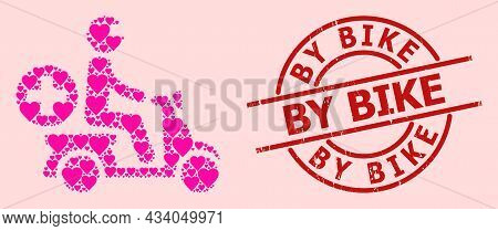Scratched By Bike Stamp, And Pink Love Heart Mosaic For Doctor Motorbike. Red Round Stamp Includes B