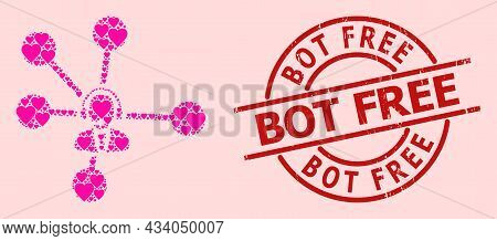 Textured Bot Free Stamp, And Pink Love Heart Mosaic For Operator Relations. Red Round Badge Has Bot
