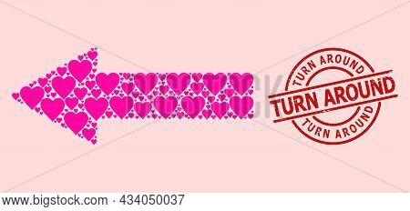 Textured Turn Around Stamp Seal, And Pink Love Heart Mosaic For Left Arrow. Red Round Seal Has Turn