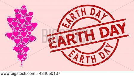 Scratched Earth Day Stamp Seal, And Pink Love Heart Mosaic For Oak Leaf. Red Round Stamp Seal Includ