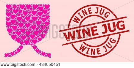 Grunge Wine Jug Stamp Seal, And Pink Love Heart Collage For Full Mug. Red Round Stamp Seal Has Wine