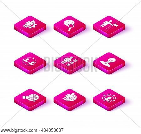 Set Piece Of Puzzle In Hand, Globe People, Human Resources, User Business Suit, Project Team Base, H