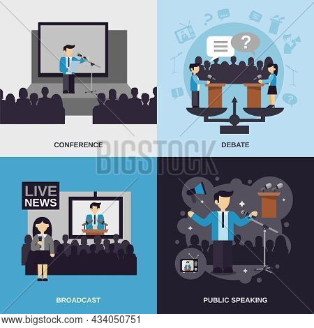 Public Speaking Design Concept Set With Conference Debate Broadcast Flat Icons Isolated Vector Illus