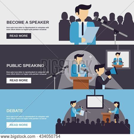 Public Speaking Banner Set With Debate Elements Isolated Vector Illustration