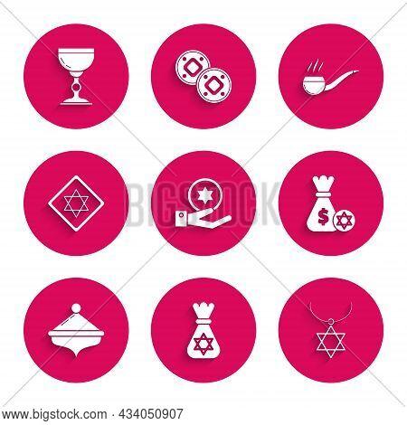 Set Jewish Coin On Hand, Money Bag With Star Of David, Star David Necklace Chain, Hanukkah Dreidel,