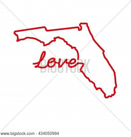 Florida Us State Red Outline Map With The Handwritten Love Word. Continuous Line Drawing Of Patrioti