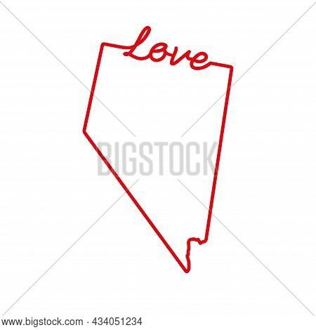 Nevada Us State Red Outline Map With The Handwritten Love Word. Continuous Line Drawing Of Patriotic