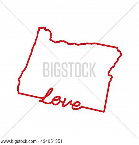 Oregon Us State Red Outline Map With The Handwritten Love Word. Continuous Line Drawing Of Patriotic
