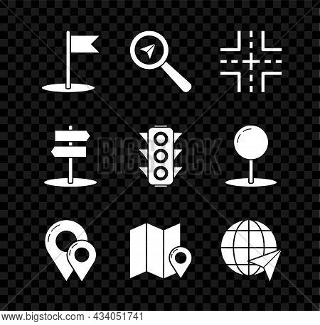 Set Flag, Search Location, Road Traffic Sign, Map Pin, Folded Map With Marker, Location The Globe, A