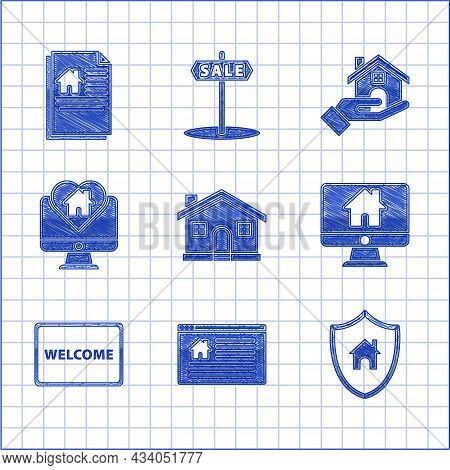 Set House, Hanging Sign With Text Online Sale, Shield, Computer Monitor Smart Home, Doormat The Welc