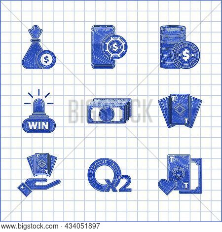 Set Stacks Paper Money Cash, Casino Chips, Playing Card With Clubs Symbol, Diamonds, Hand Holding De
