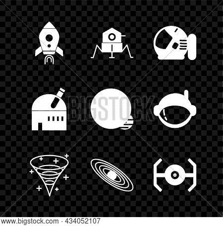 Set Rocket Ship With Fire, Mars Rover, Astronaut Helmet, Black Hole, Planet, Cosmic, Astronomical Ob