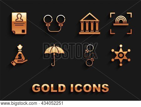 Set Umbrella, Fingerprint, Hexagram Sheriff, Handcuffs, Holding Money Bag, Courthouse Building, Iden
