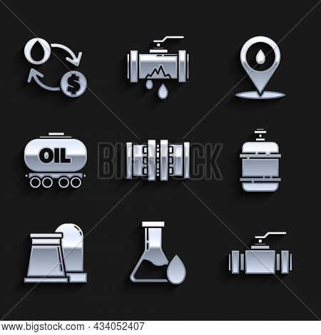 Set Industry Metallic Pipes And Valve, Oil Petrol Test Tube, Propane Gas Tank, Industrial Factory Bu