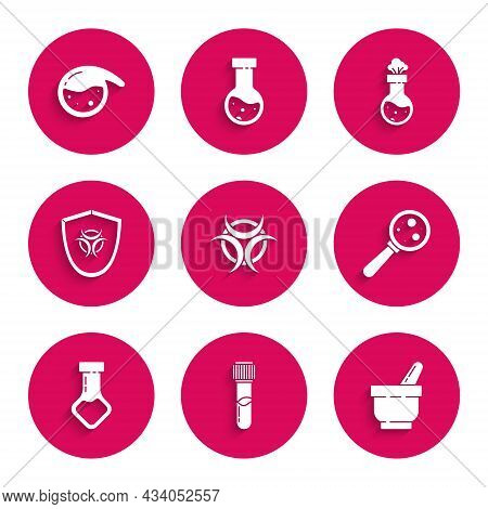 Set Biohazard Symbol, Test Tube And Flask Chemical, Mortar Pestle, Microorganisms Under Magnifier, O
