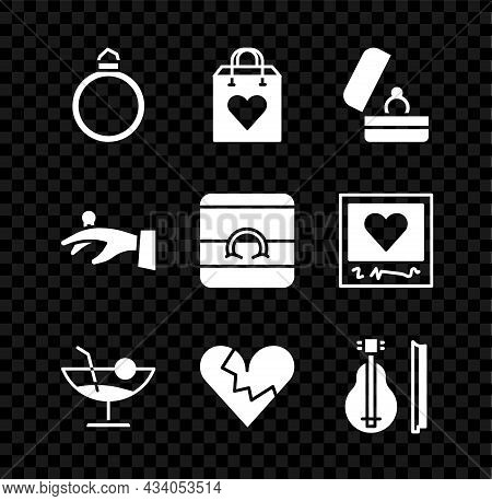 Set Diamond Engagement Ring, Shopping Bag With Heart, Wedding Rings, Cocktail, Broken Or Divorce, Vi