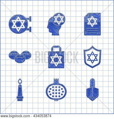 Set Shopping Bag With Star Of David, Pomegranate, Hanukkah Dreidel, Shield Star David, Burning Candl